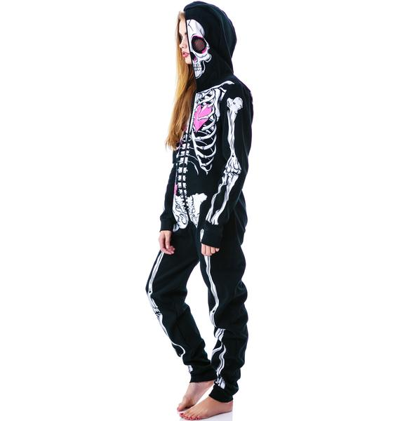 Ribcage Rosie Skelly Zip Over Face Onesie