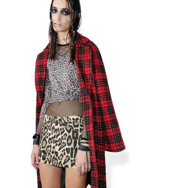 Tripp NYC Twill Leopard Mini Skirt