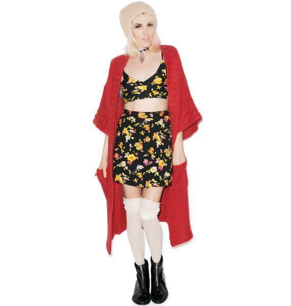 Motel Floral Wrap Button Skirt