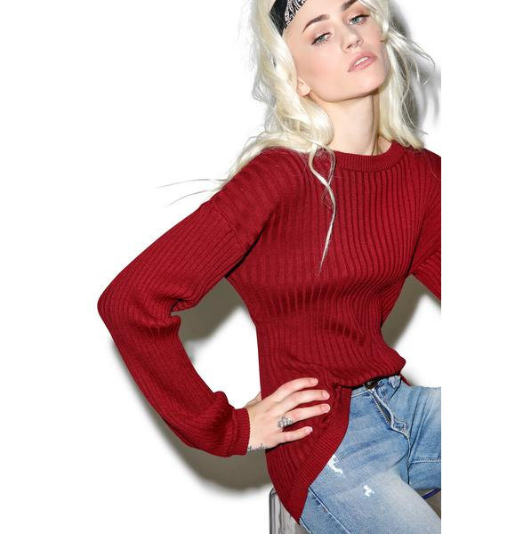 For Love & Lemons Everyday Maroon Knit Top