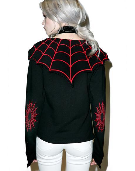 Spiderweb Horror Bat Flap Jacket