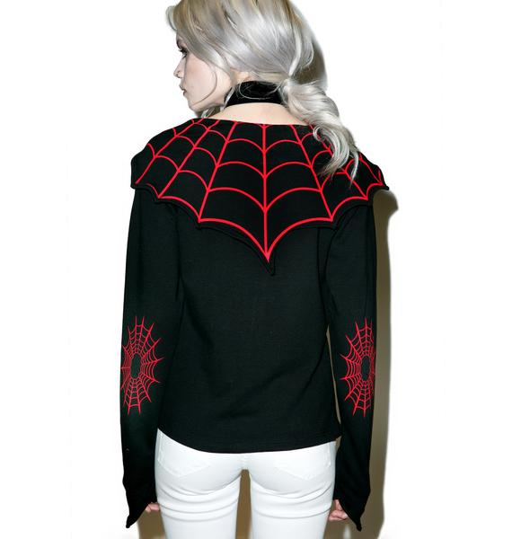 Kreepsville 666 Spiderweb Horror Bat Flap Jacket