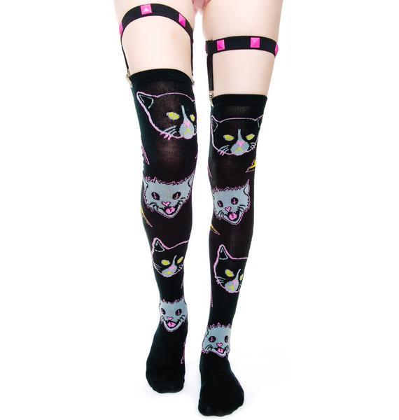 Too Fast Kitty Rocks Garter Socks