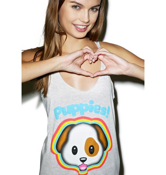 Puppies Make Me Happy Emojeez Tank Top