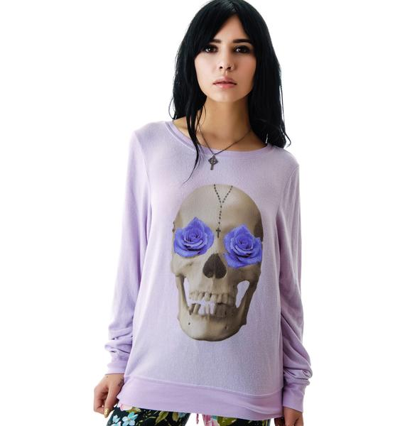 Wildfox Couture Skull and Roses Baggy Beach Jumper