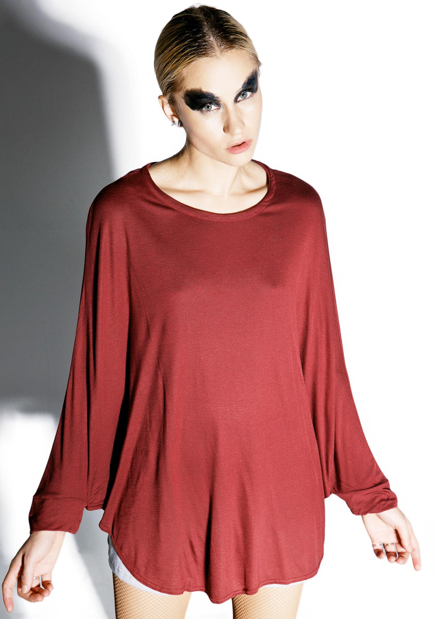 MNML Can't Tell Me Nothin' Crimson Batwing Top