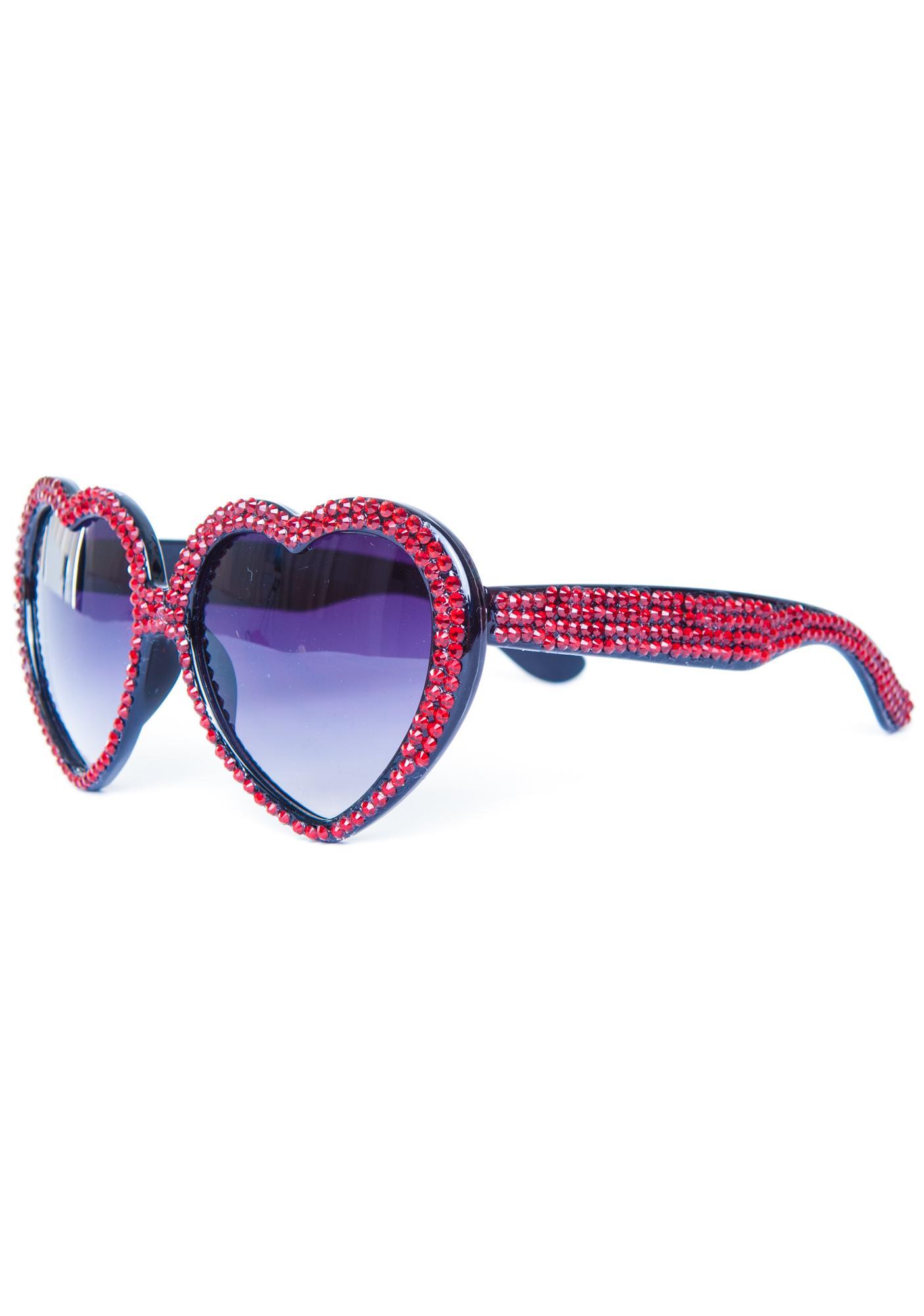 Marialia Ruby Red Swarovski® Heart Sunglasses