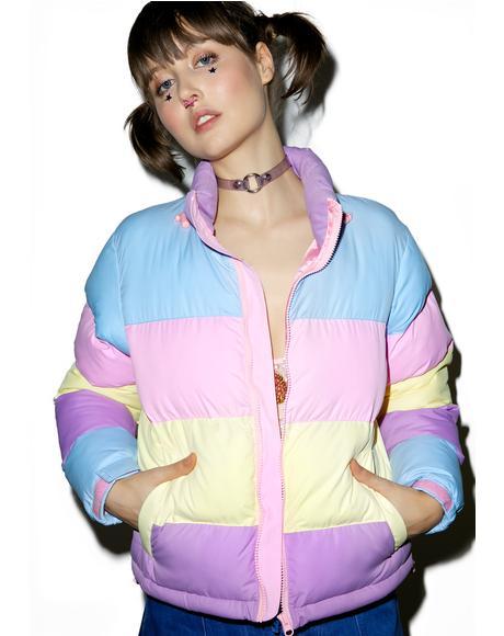 Pastel Panel Puffer Jacket