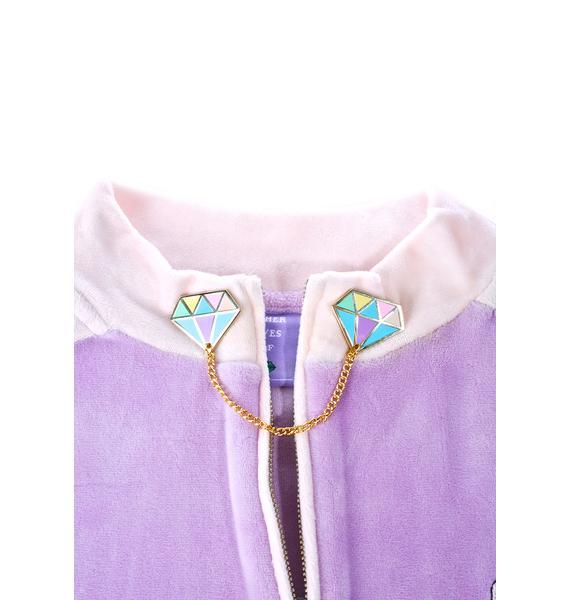 Jazzelli Designs Rainbow Diamond Collar Pins