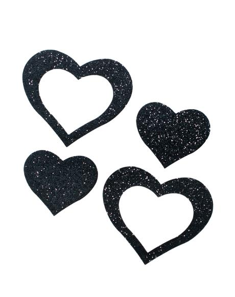 Black Cut Out Glitter Heart Pasties
