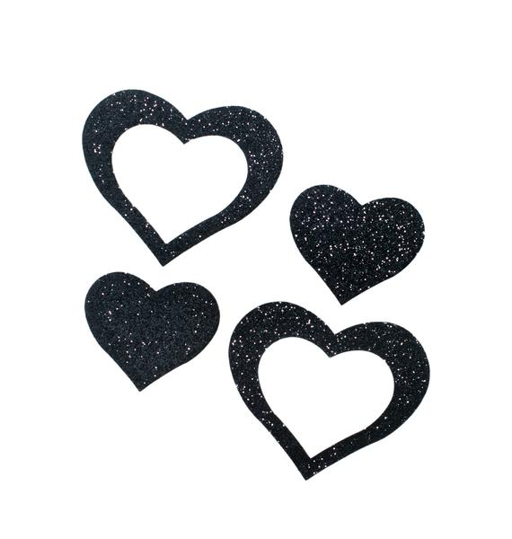 Pastease Black Cut Out Glitter Heart Pasties