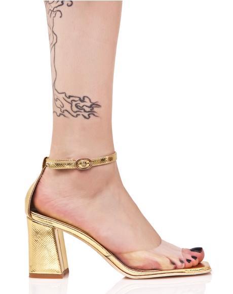Gold Bridgette Kitten Heel