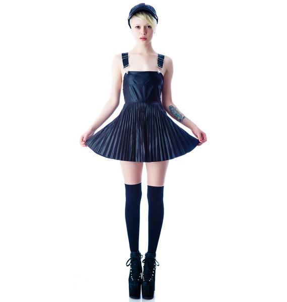 For Love & Lemons Greaser Pleated Overall Dress