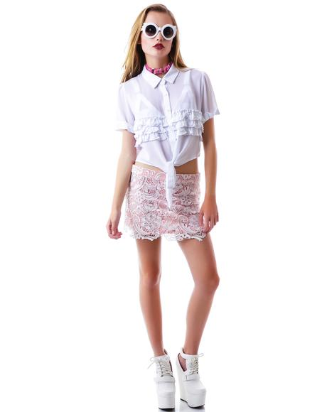 Cutie Coco Tie Up Ruffle Blouse