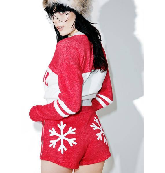 Camp Collection X Dolls Kill Snowflakes Track Star Shorts