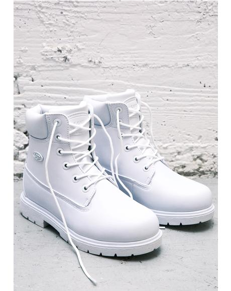 All White Shifter Boots