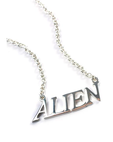 Alien Nameplate Necklace