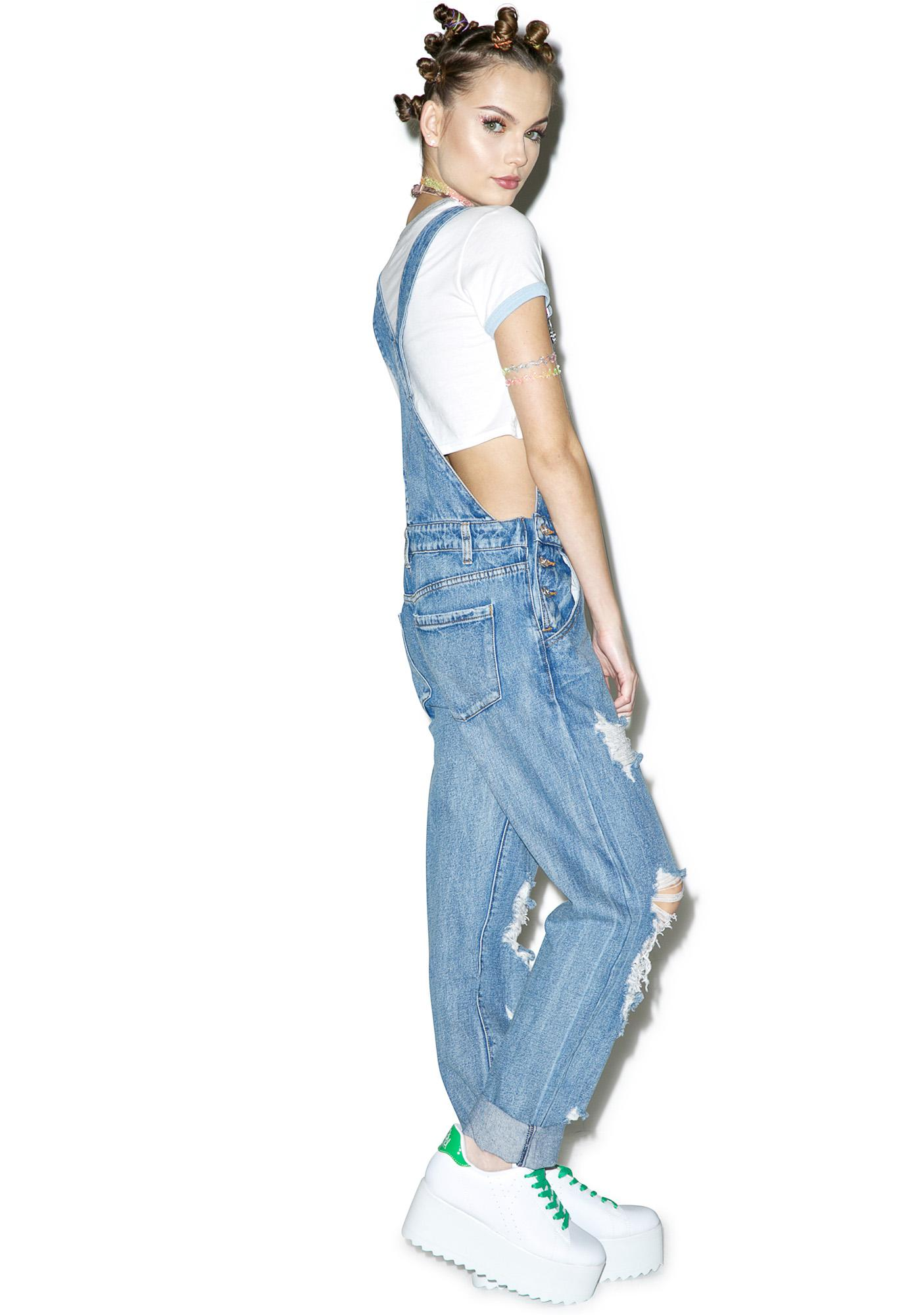 Bad Gal Distressed Overalls