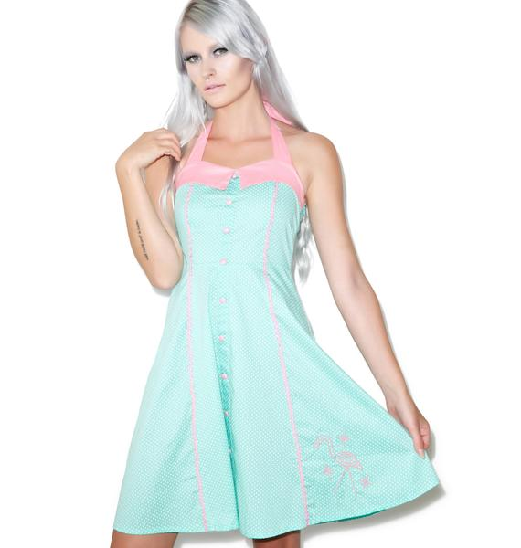 Sourpuss Clothing Peggy Pink Flamingo Dress