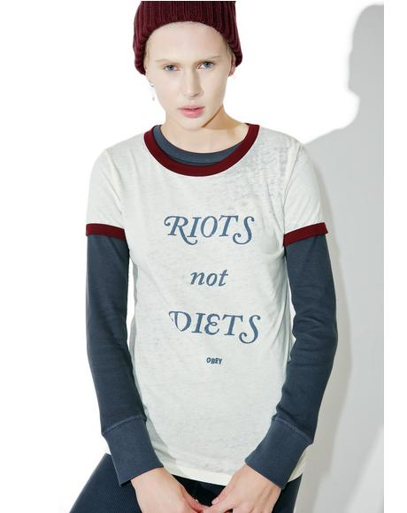 Riots Not Diets Ringer Tee