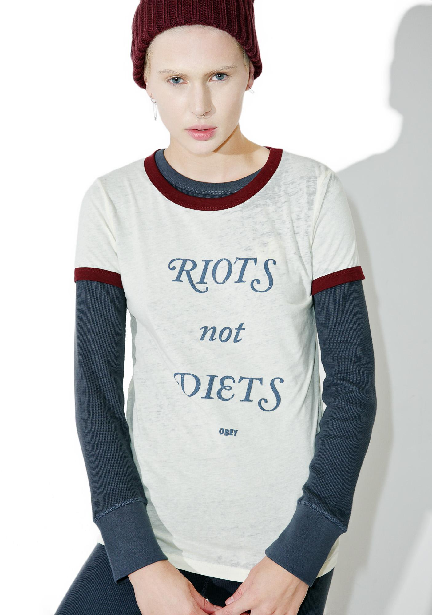 Obey Riots Not Diets Ringer Tee