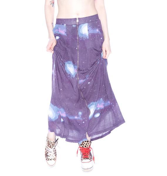 Sauce Cosmic Print Zipper Skirt