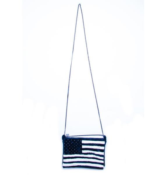 Adeen Stars and Stripes Plush Clutch