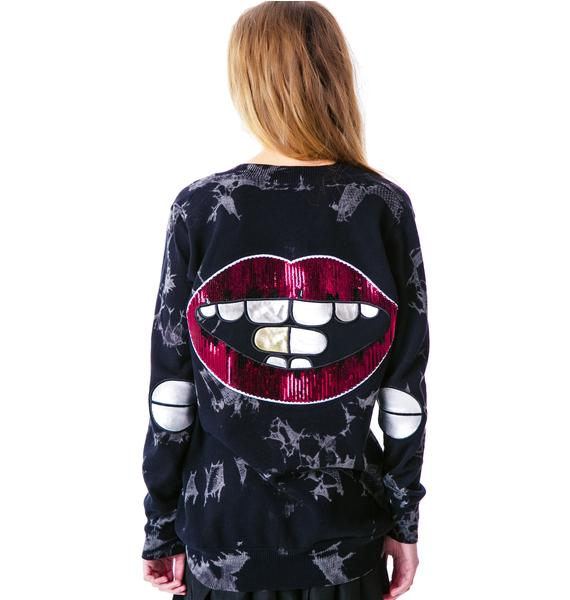 Too Fast Model Lips Dare Patch Elbow Cardigan