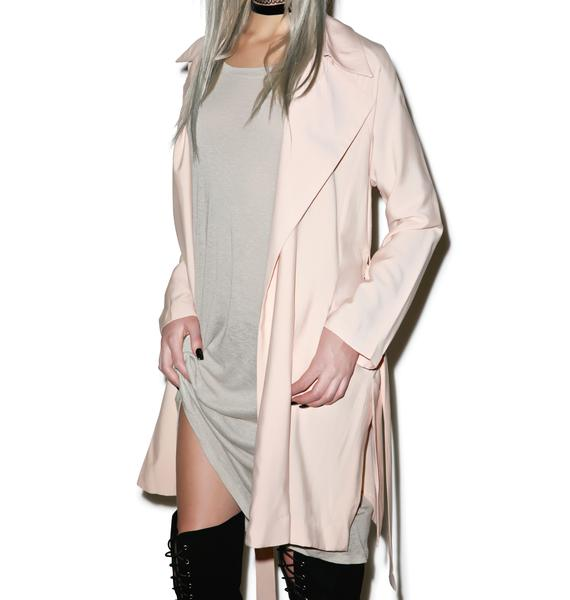 Flushed Cheeks Draped Trench Coat