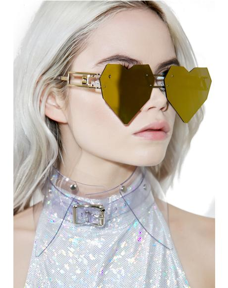 Gold Heart Speqz Sunglasses