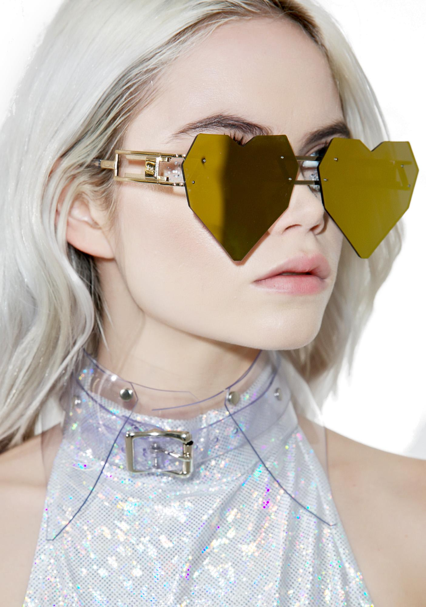 ESQAPE Gold Heart Speqz Sunglasses