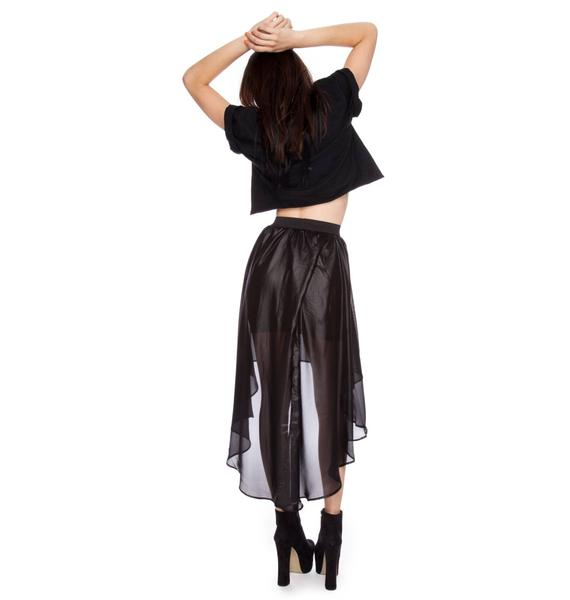 Widow Chinsed Chiffon Tail Skirt