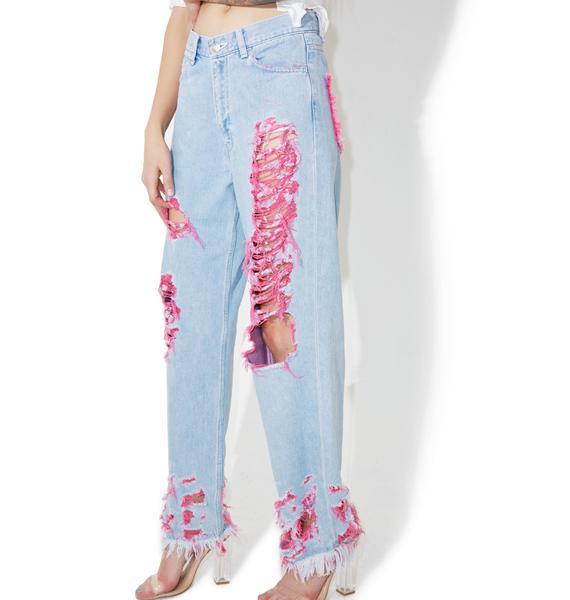 Little Sunny Bite Destroyed Pinky Denim Pants