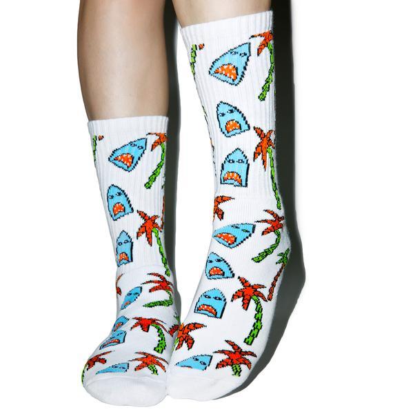 HUF Anne Freeman Shark Attack Crew Socks