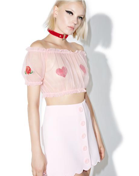 Sweet Sheer Rose Crop Top