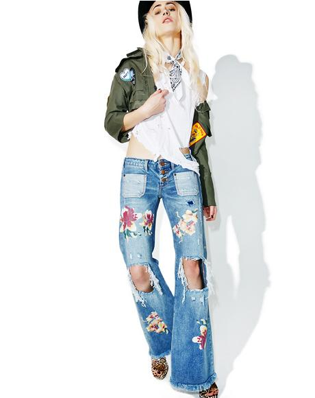 Orchid Distressed Bell Bottoms