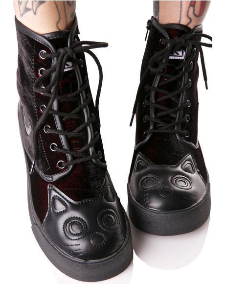 Velvet Kitty Boots