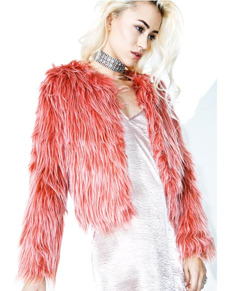 Raspberry Sherbert Faux Fur Coat
