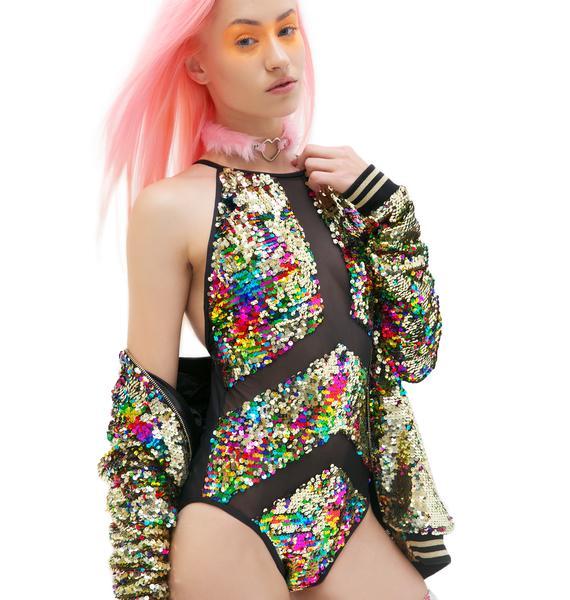 Jaded London Rainbow Sequin Paneled Swimsuit