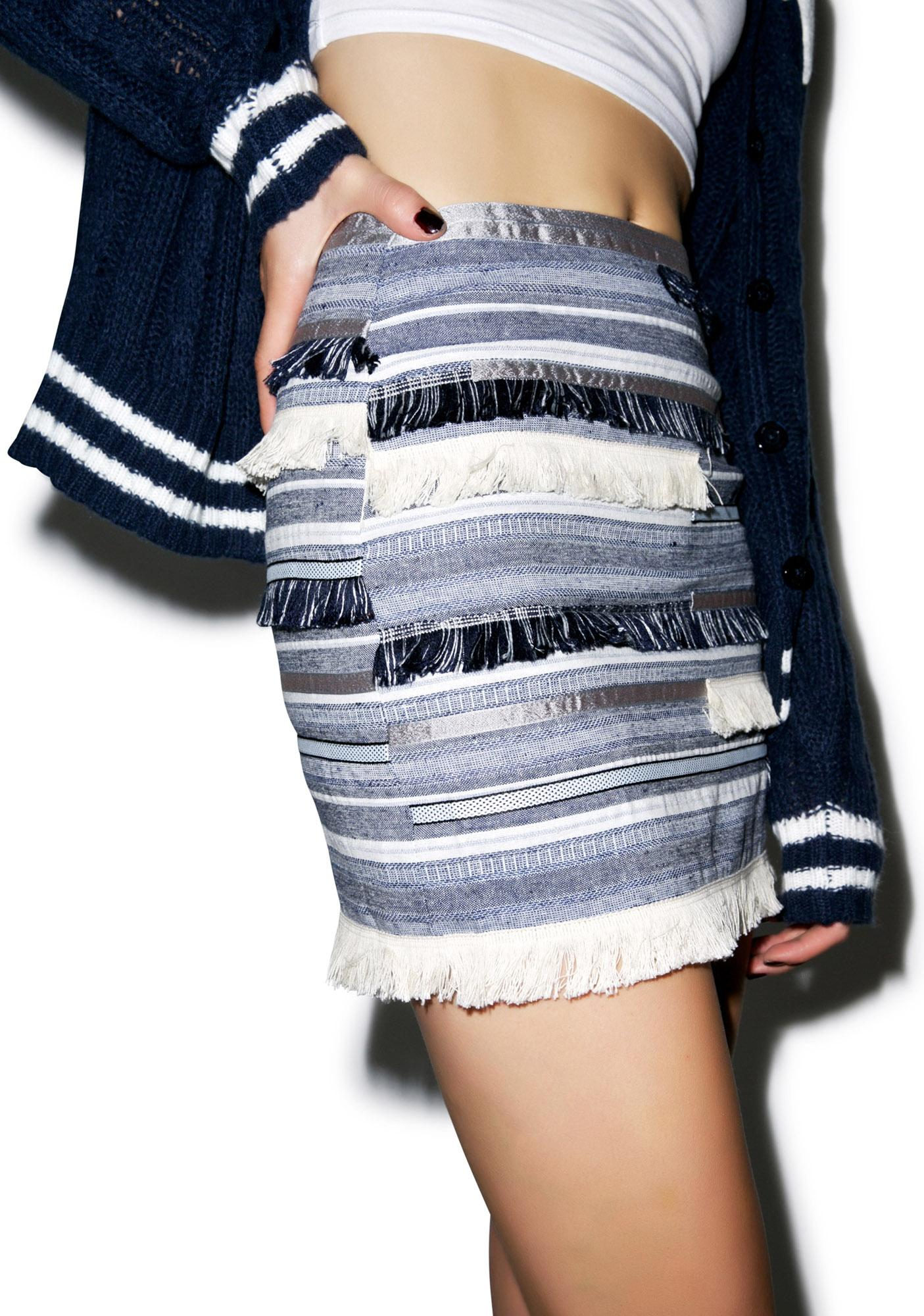 Fringe With Benefits Denim Skirt