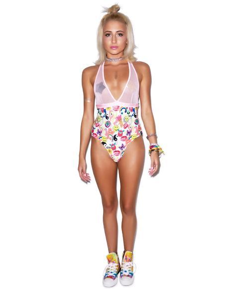 Mesh V-Neck Swimsuit