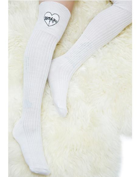 Heart Logo Knee High Socks