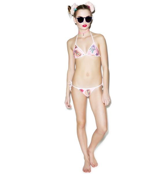 Wildfox Couture Hamburgers Reversible Contrast String Top