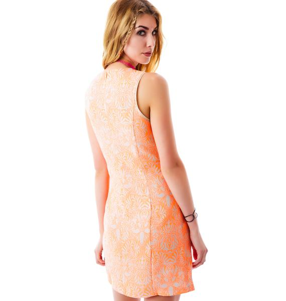 Monaco Neon Damask Shift Dress