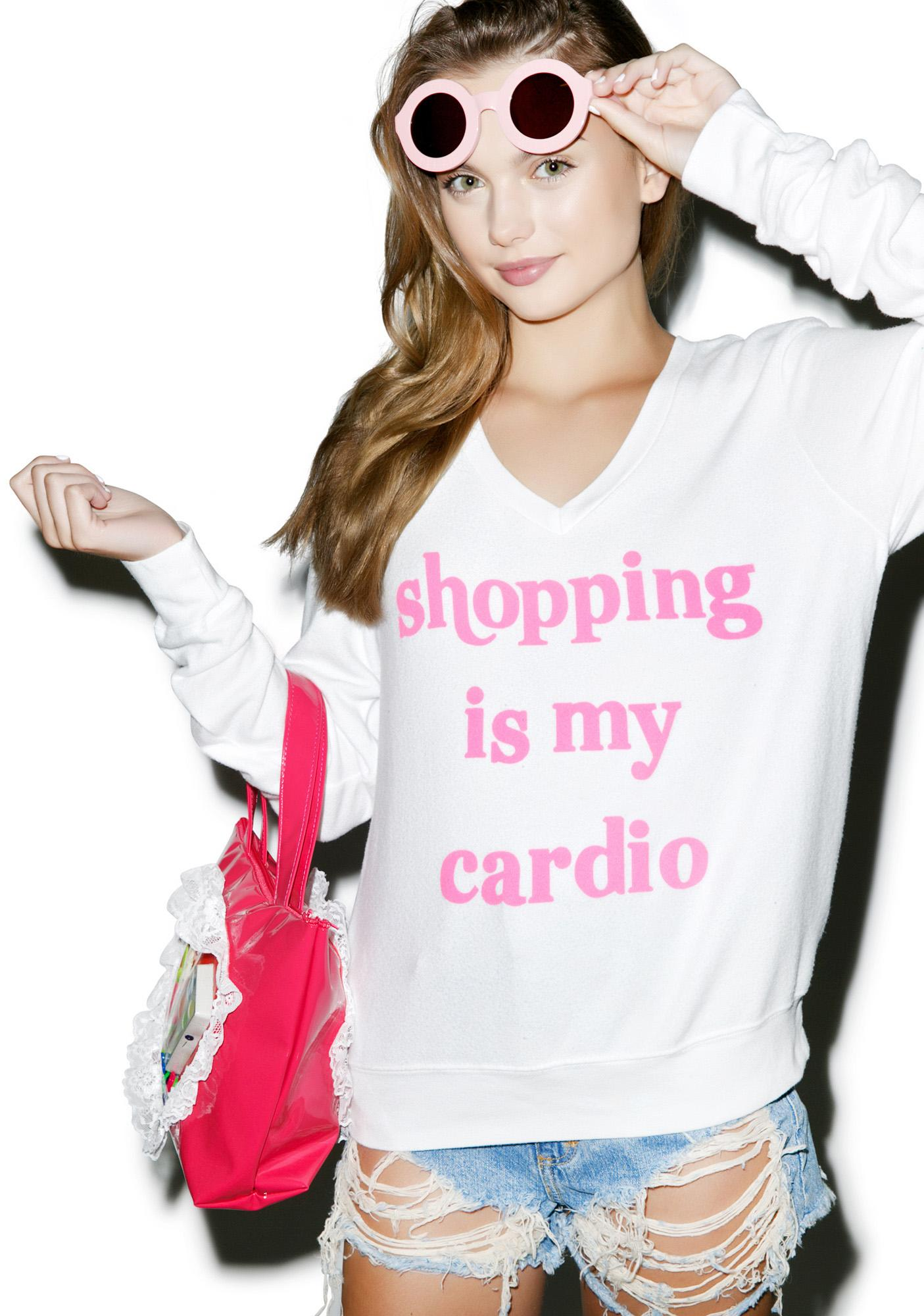 Wildfox Couture Shopping Is My Cardio Baggy Beach Jumper