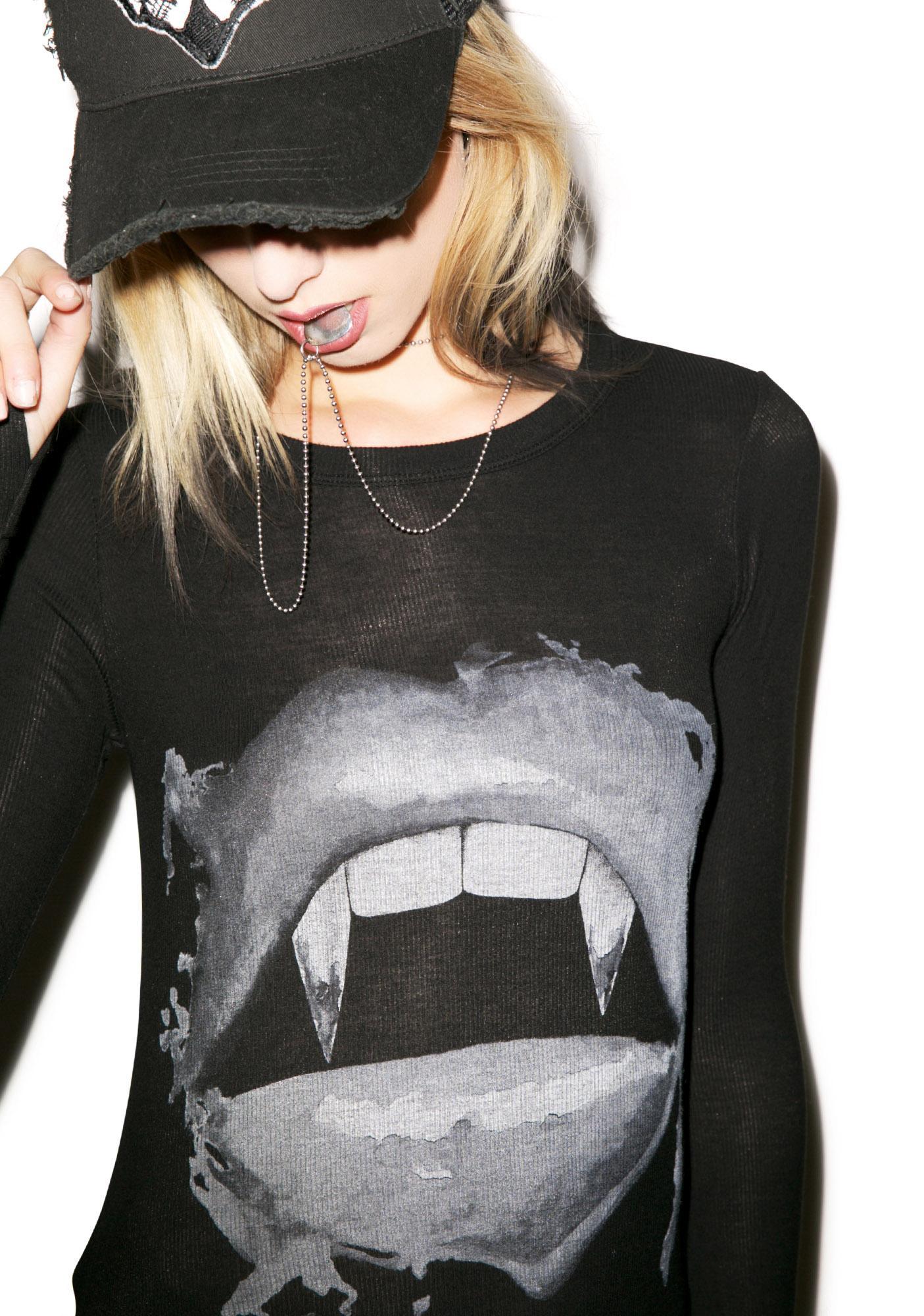 Lauren Moshi McKinley Vampy Lips Long Sleeve Tee