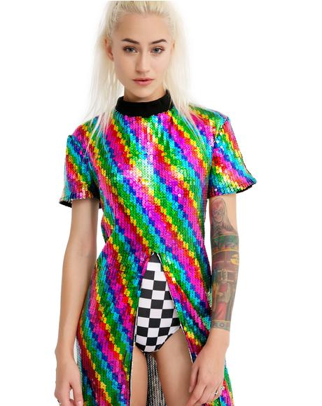 Rainbow Split Sequin Maxi