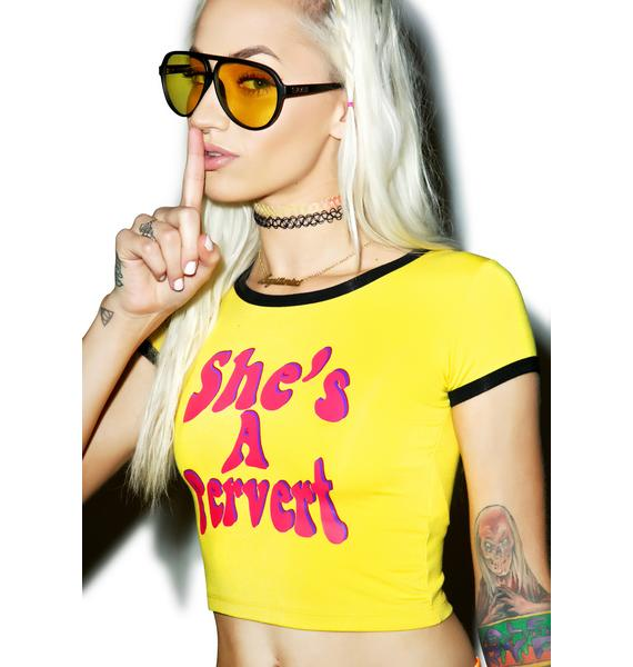 O Mighty She's A Pervert Ringer Tee