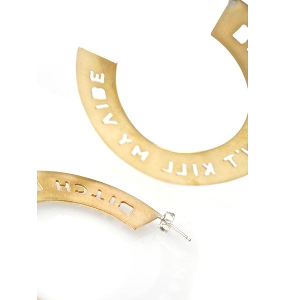 Vittrock Bitch Don't Kill My Vibe Brass Hoops Earrings