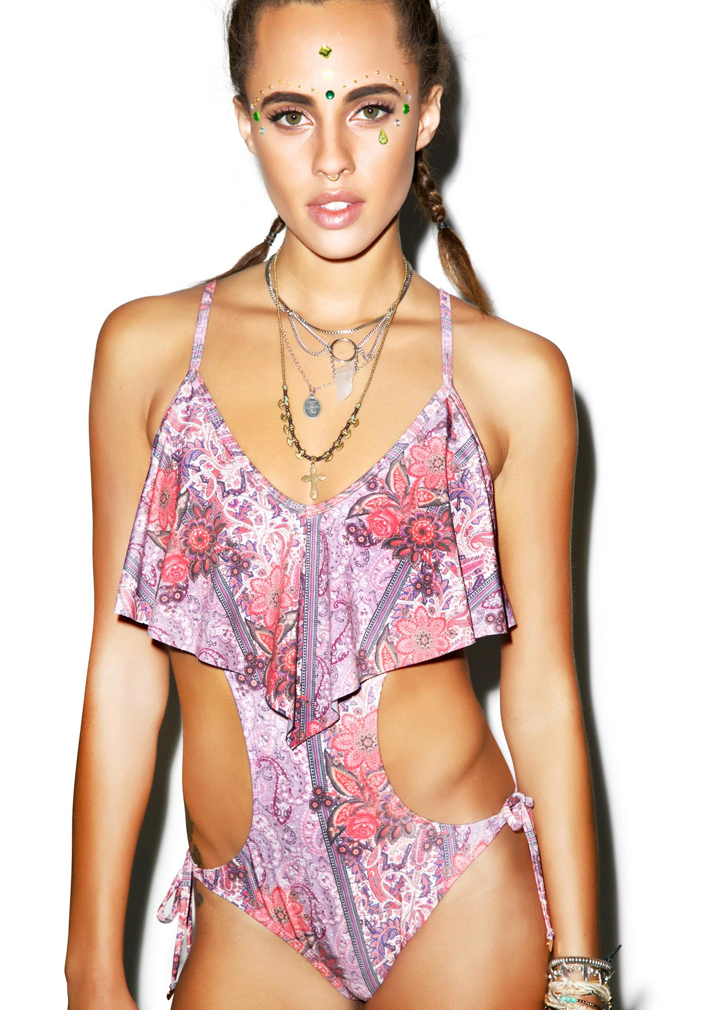 Wildfox Couture Boho Floral Draped Monokini